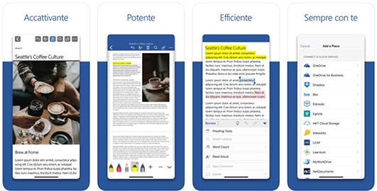 Microsoft Word, la versione mobile del software più usato sui computer