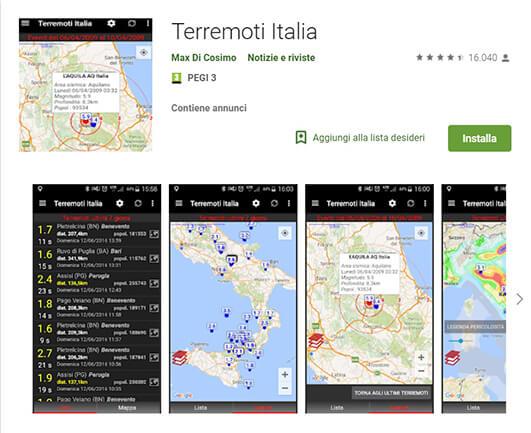 Terremoti Italia, come funziona l'app per piattaforma Android