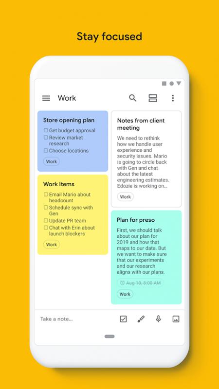 Google Keep, app per la produttività