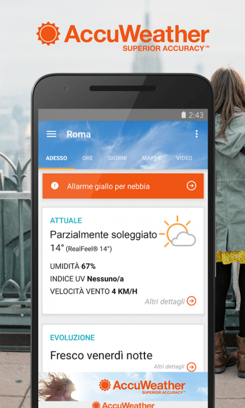 AccuWeather, app previsioni meteo