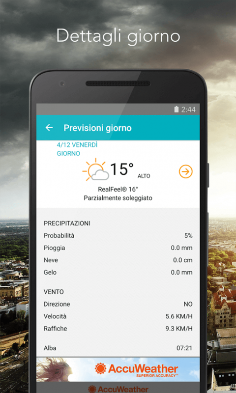 AccuWeather, previsioni meteo del giorno