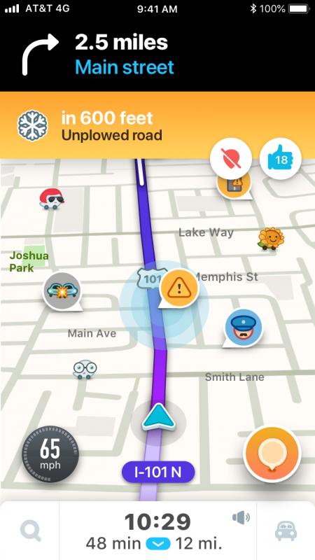 Waze, come segnalare strade innevate