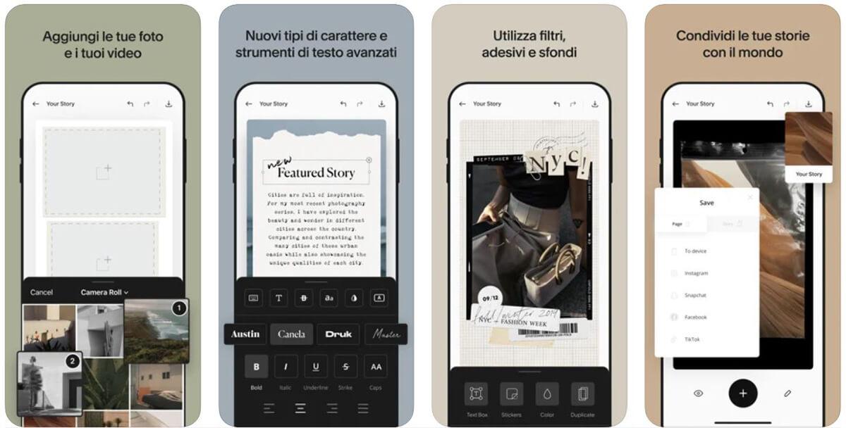 Unfold, app per fare stories su Instagram