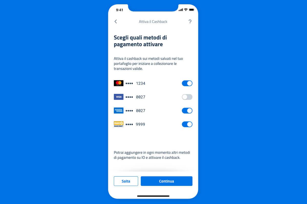 App IO cashback, come inserire le carte